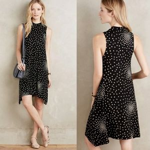 Maeve Lilt Swing Dress in Black w Polka Dots